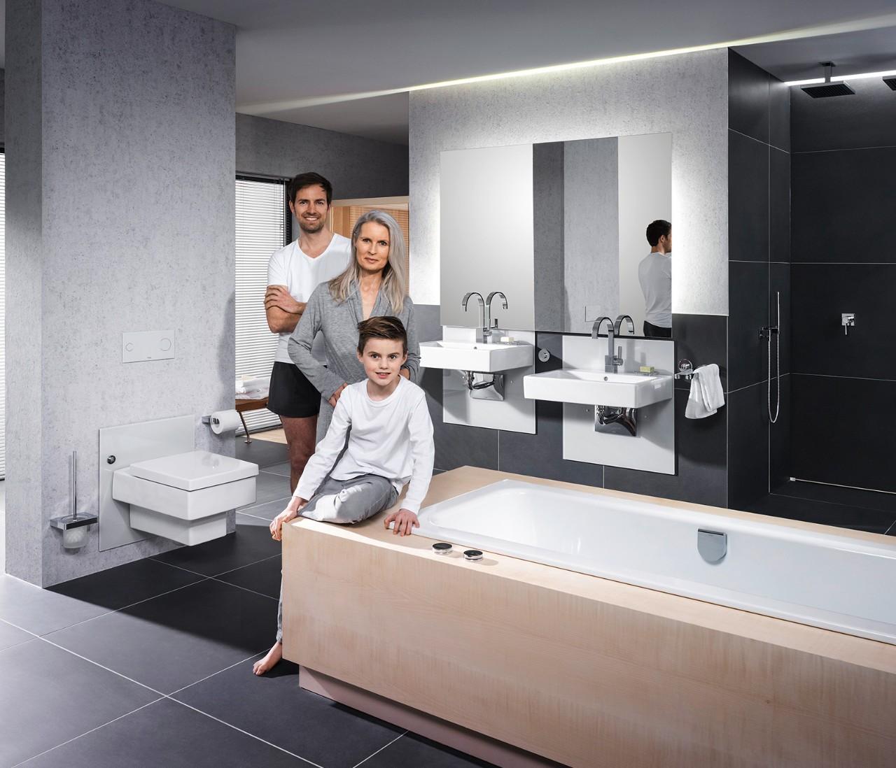 Stel uw wastafel of toilet met een druk op de knop op de juiste hoogte in - Huis wastafel ...