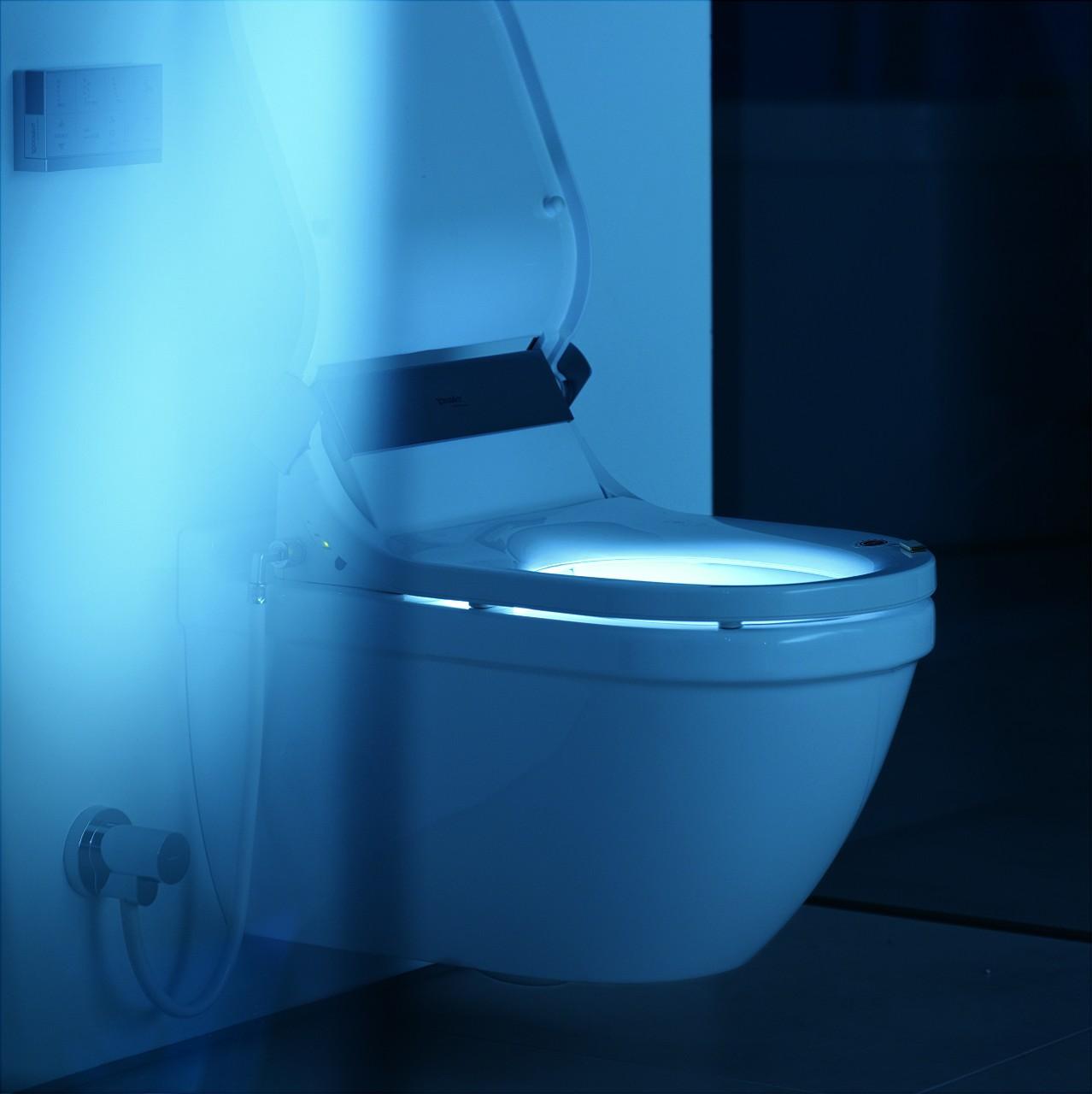 Ingebouwd Duravit LED-nachtlampje bij spiegelkast of douche-wc
