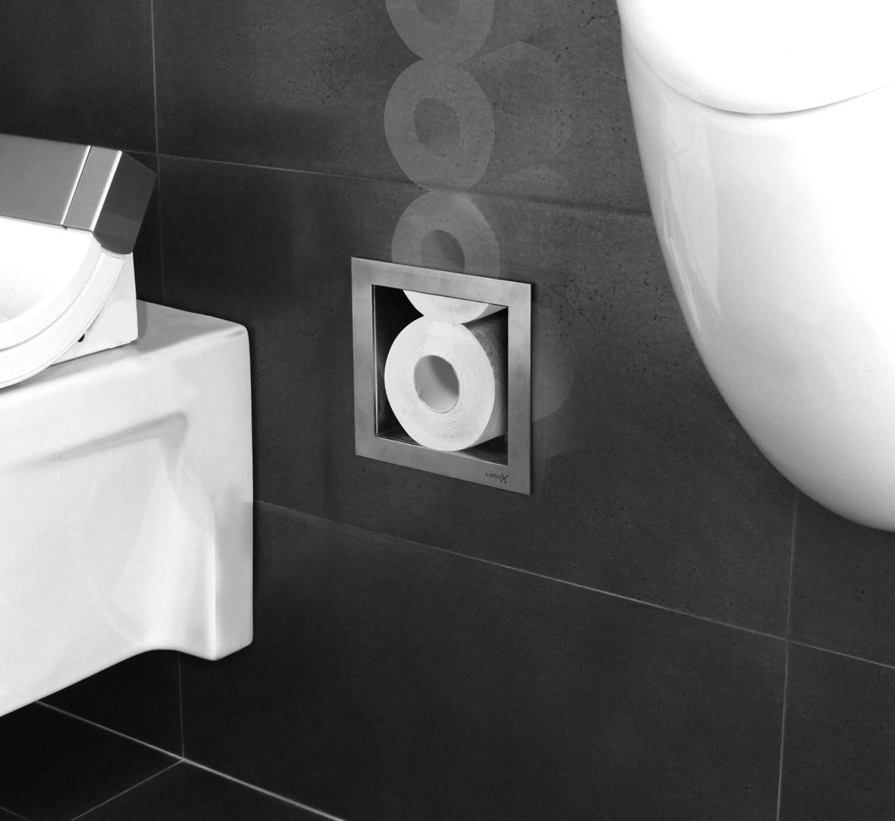 Looox toiletrolopbergsysteem naast het toilet