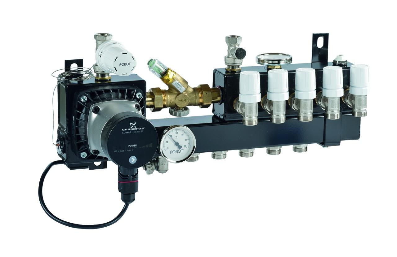 Vloerverwarming Badkamer Retourleiding : Verdeelunit voor lage aanvoertemperatuur robot vloerverwarming